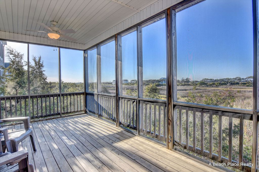 Screened in Porch with views of the marsh