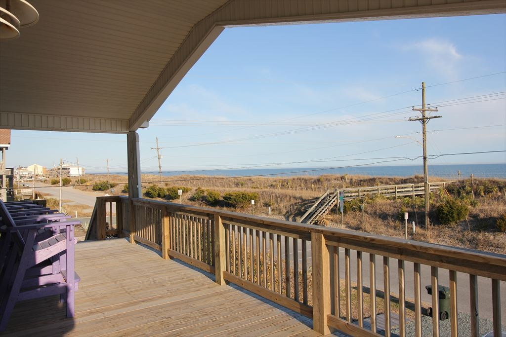 Covered Deck Area and view of Beach Access