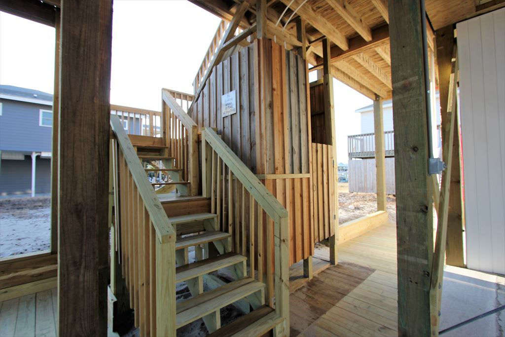 Stairs to Deck and Outside Shower