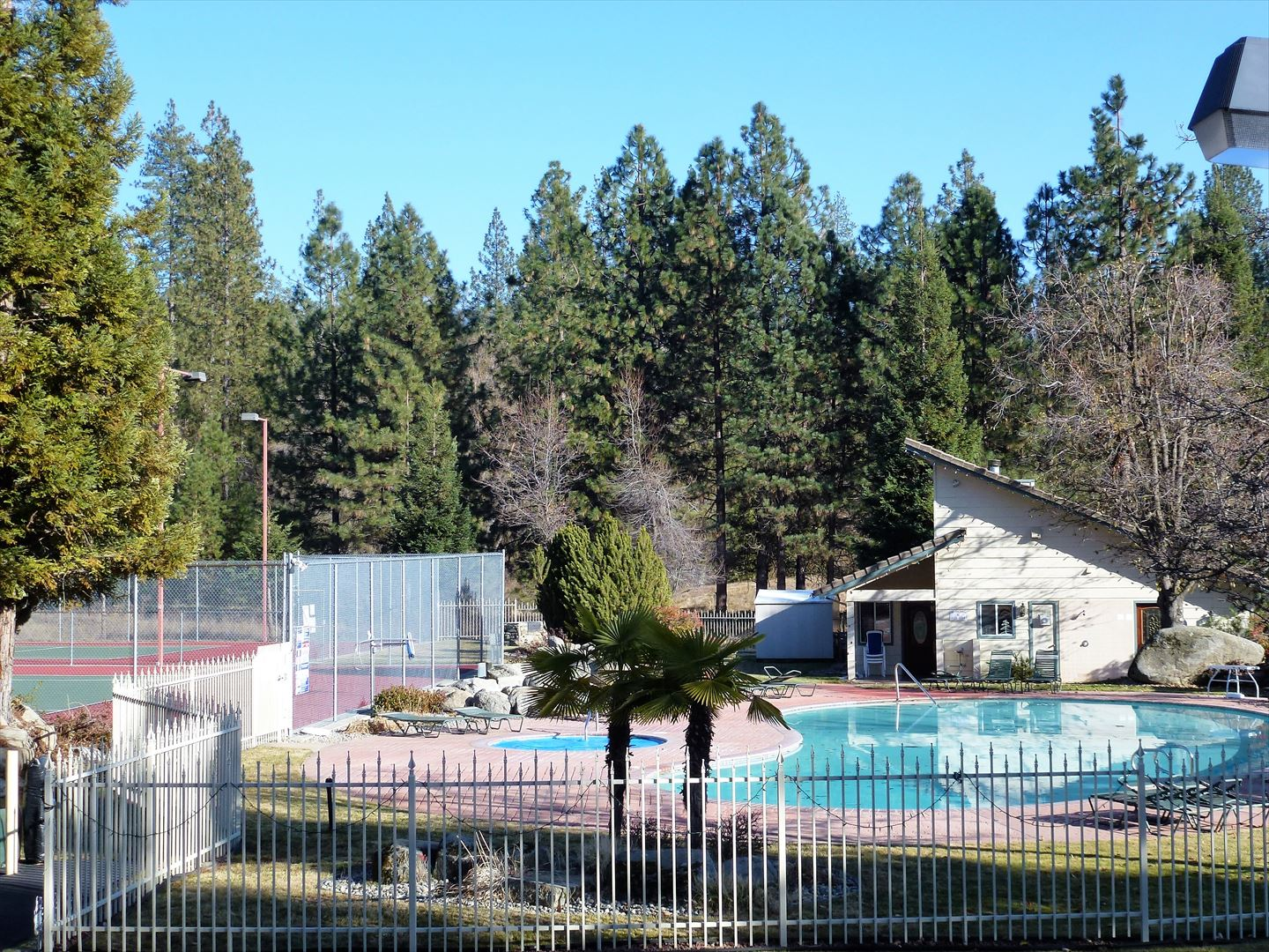 Views of the community pool, spa, and tennis courts surrounded by mountains and tall, majestic trees.