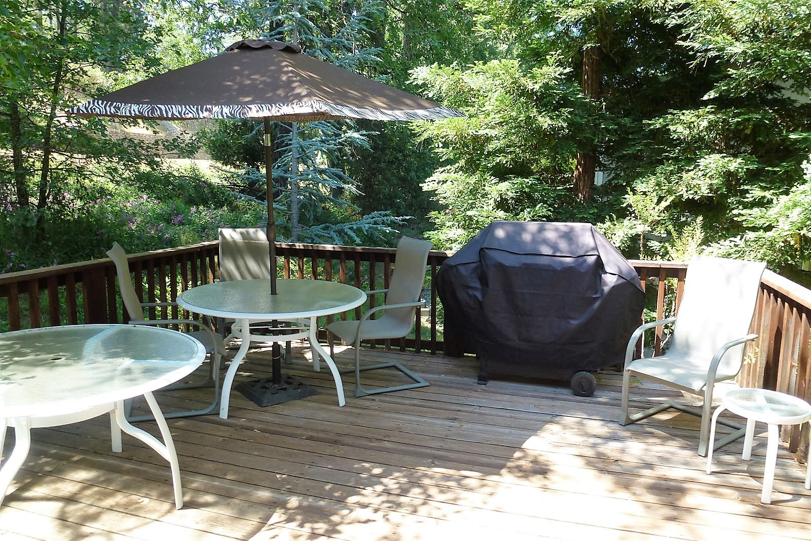 Conveniently located deck for everyone with a BBQ, 2 tables and plenty of chairs.