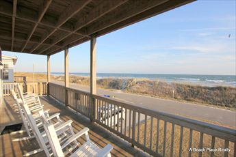 Ocean front covered deck located off the first floor
