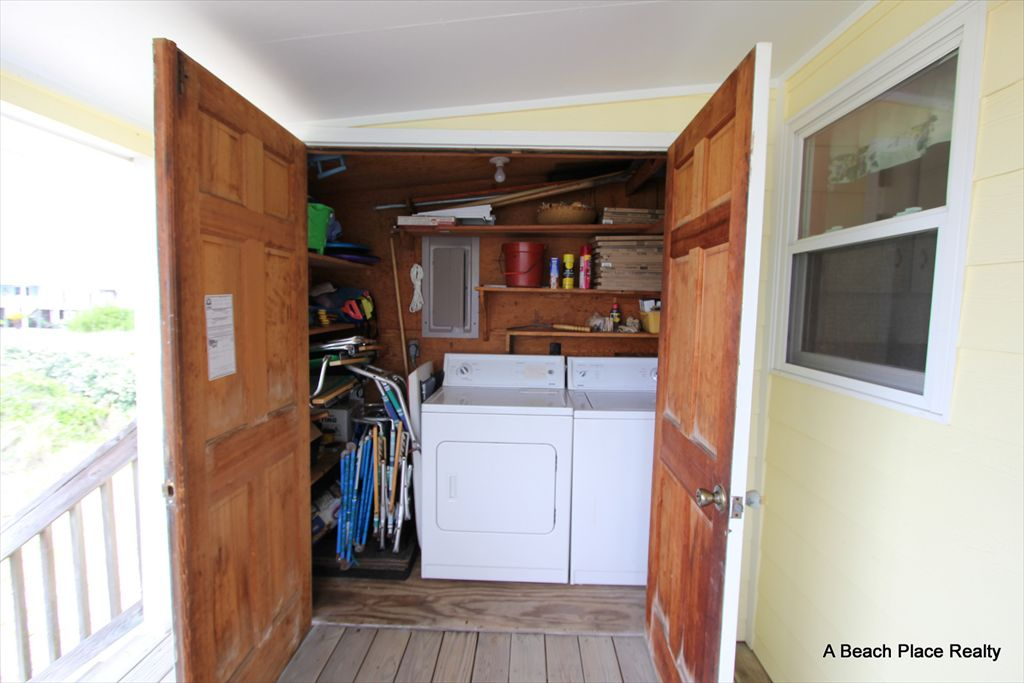 Laundry Closet off the back deck