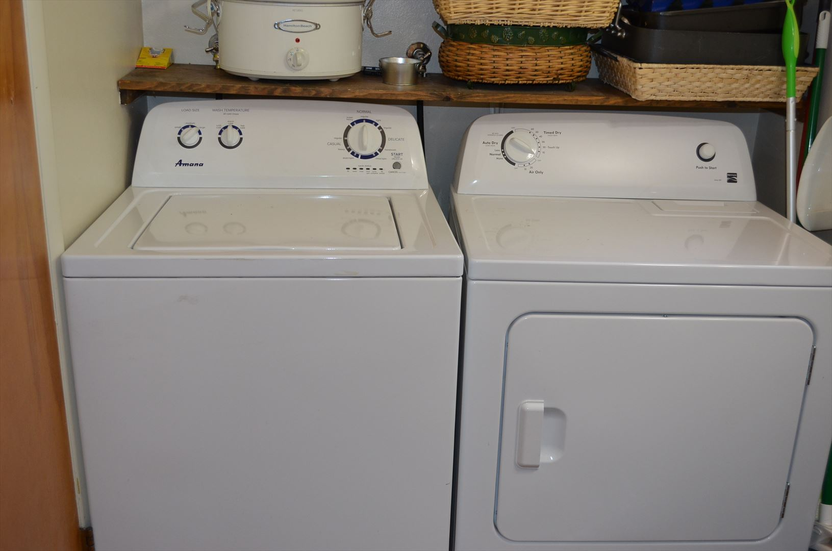 washer and dryer in main floor bathroom off of kitchen
