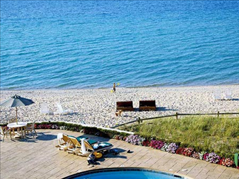Pool deck and Lake Michigan shoreline