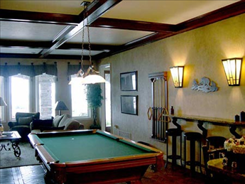Member clubroom with fitness center, sauna and pool table