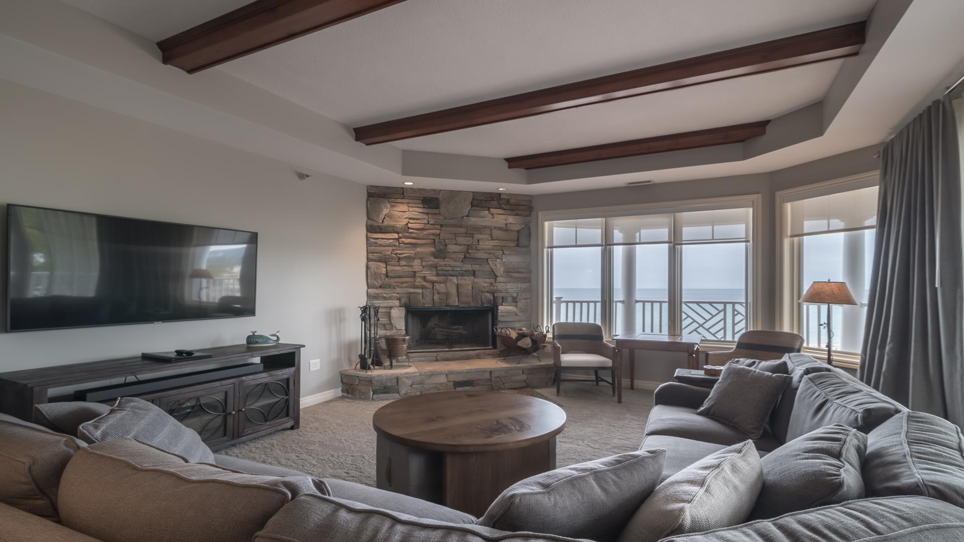 Living room with spectacular views of Lake Michigan
