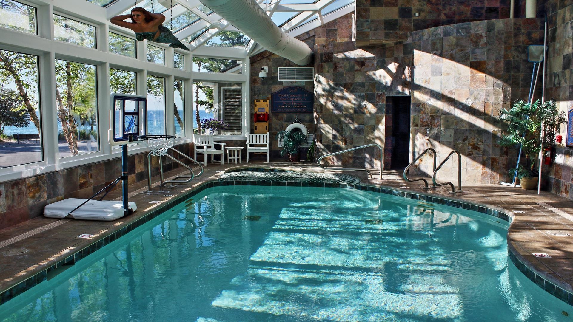 Indoor pool with views of Lake Michigan