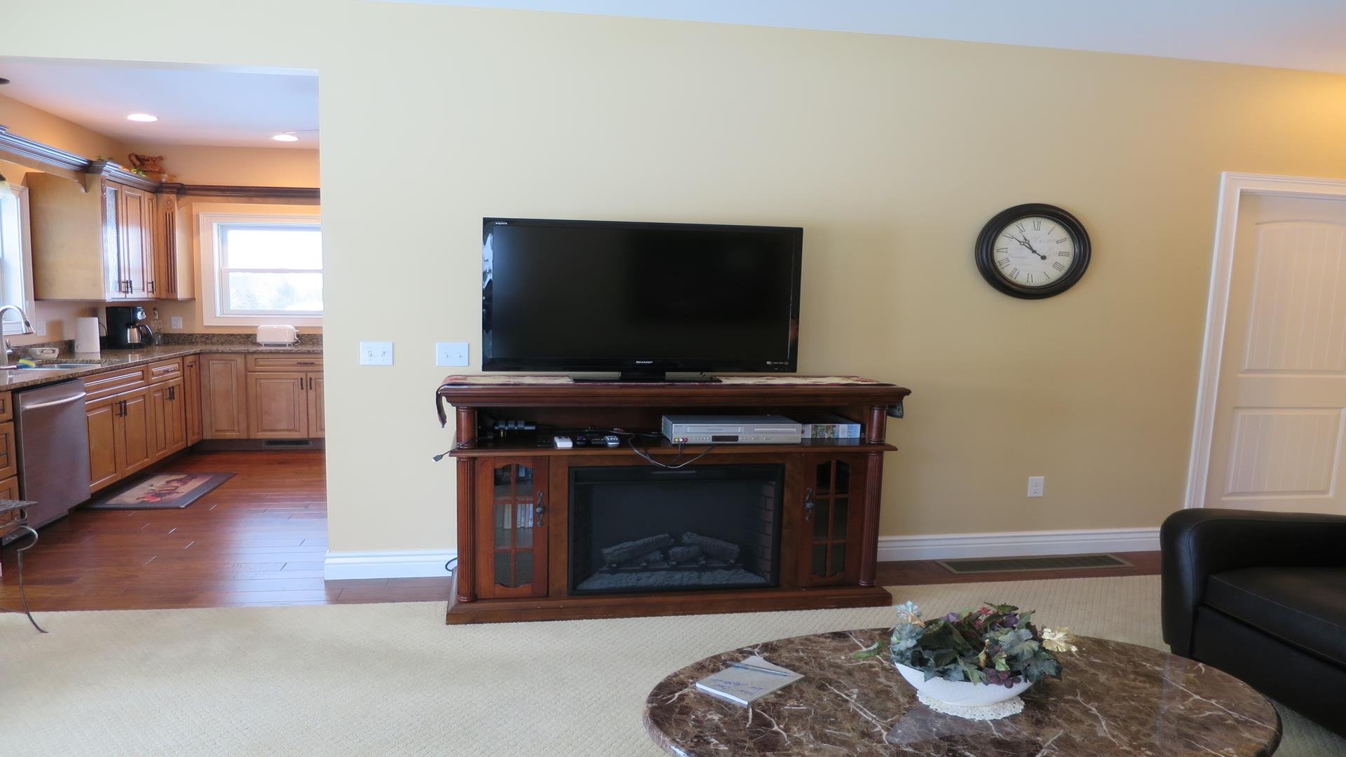 Electric Fireplace in family room with flat screen TV