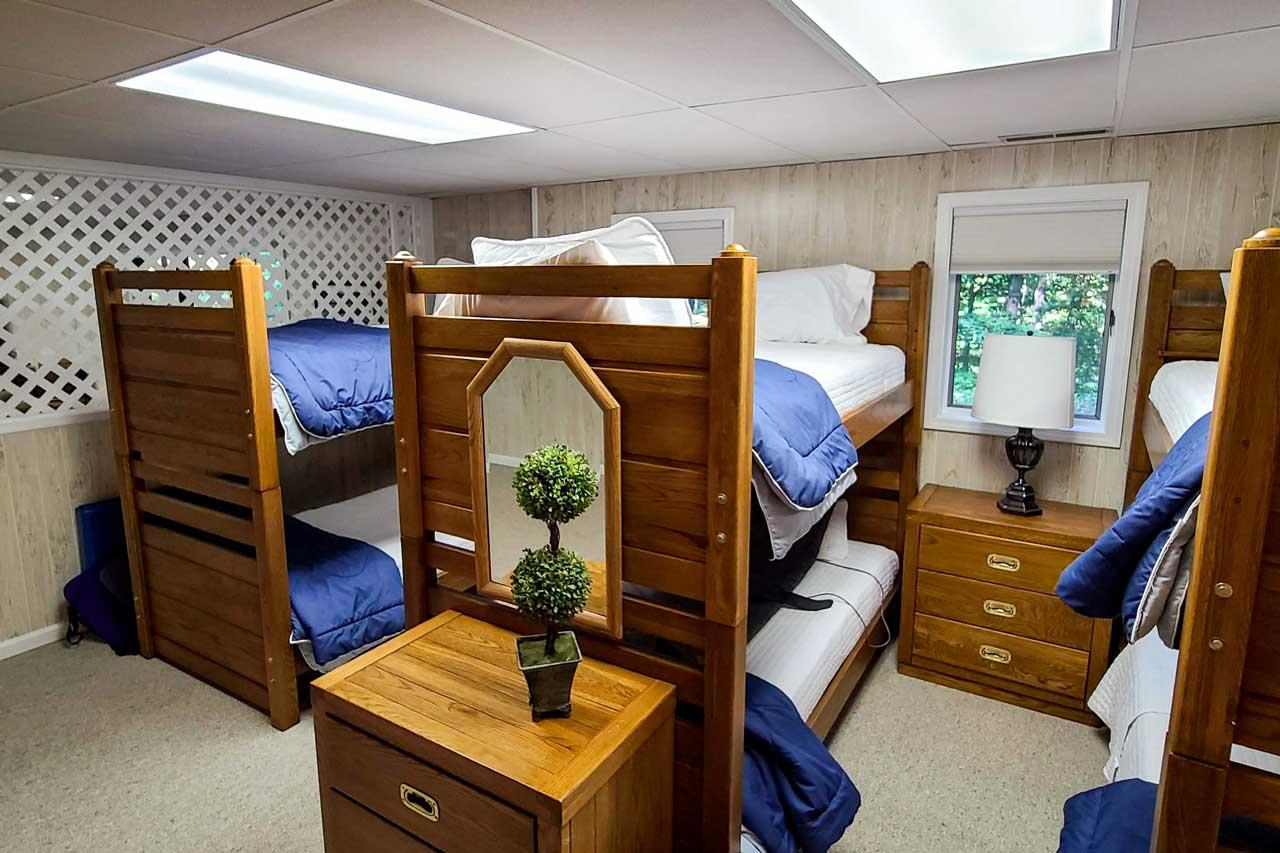 Lower Level Bunk Room and Rattan table and chairs